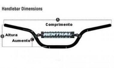 GUIDÃO RENTHAL 783 MINI 7/8 22MM BAR KX 65 02/17 + KTM 65 98/18 + KX 60 (PRETO) - 783-01-BK-03-219