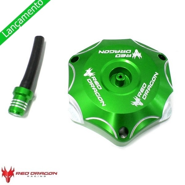 TAMPA TANQUE 58MM KXF 250/450 06-15 + KLX 450 08-09 - RED DRAGON - VERDE - ASGT-35