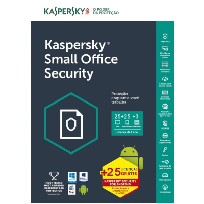 Kaspersky Small Office Security 6 - 25 Dispositivos + 25 Mobile + 3 Servidores + 25 Password Managers - 1 ano - (Frete Grátis - Envio Digital)