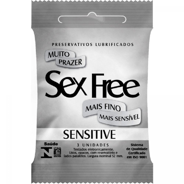 PRESERVATIVO SENSITIVE COM 3 UNIDADES - SEX FREE